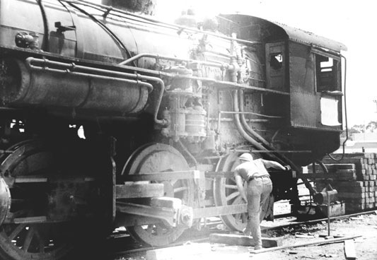 Southern Pacific Mogul number 1765 being prepared for transport